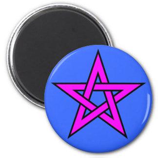 Pentagram Magenta on Blue 2 Inch Round Magnet