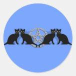 Pentagram mágico de Wicca con el sistema del Pegatina Redonda