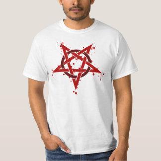 Pentagram manchado satánico rojo camisas