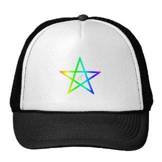 Pentagram masculino del arco iris gorras de camionero