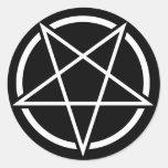 Pentagram No.1 (blanco) Pegatina Redonda