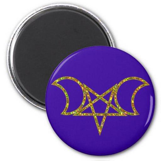 Pentagram of half-moons pentagram crescents fridge magnets
