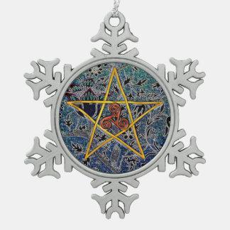 Pentagram - oro con el copo de nieve del estaño de adorno de peltre en forma de copo de nieve