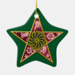 Pentagram - oro y rojo en verde ornamente de reyes