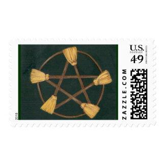 Pentagram oscuro de la escoba franqueo