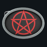 "Pentagram Oval Belt Buckle<br><div class=""desc"">Belt buckle with red pentagram</div>"