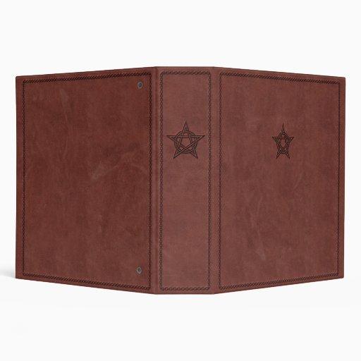 Pentagram - Pagan Magic Symbol on Red Leather Vinyl Binder