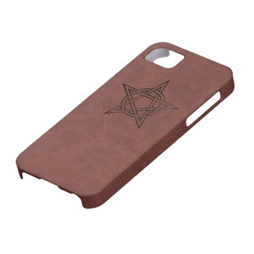 Pentagram - Pagan Magic Symbol on Red Leather iPhone 5 Cover
