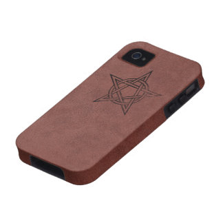 Pentagram - Pagan Magic Symbol on Red Leather iPhone 4 Cover