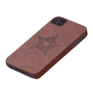 Pentagram - Pagan Magic Symbol on Red Leather iPhone 4 Covers