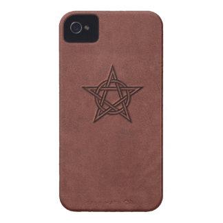 Pentagram - Pagan Magic Symbol on Red Leather iPhone 4 Case-Mate Case
