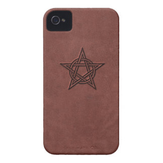 Pentagram - Pagan Magic Symbol on Red Leather Case-Mate iPhone 4 Case
