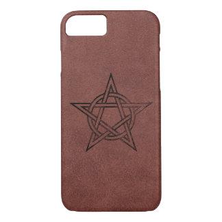 Pentagram - Pagan Magic Symbol on Red Leather iPhone 8/7 Case