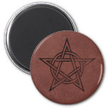 Pentagram - Pagan Magic Symbol on Red Leather Fridge Magnets