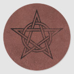Pentagram - Pagan Magic Symbol on Red Leather Stickers