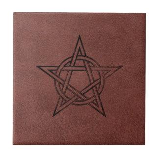Pentagram - Pagan Magic Symbol on Red Leather Tile