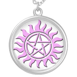 pentagram pink necklace