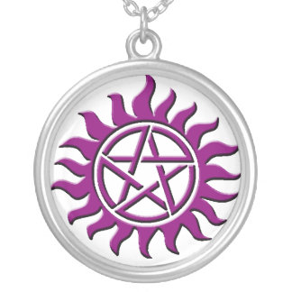 pentagram purple personalized necklace
