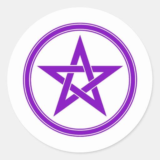 Pentagram púrpura del pentáculo pegatinas redondas