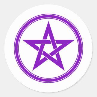 Pentagram púrpura del pentáculo pegatina redonda