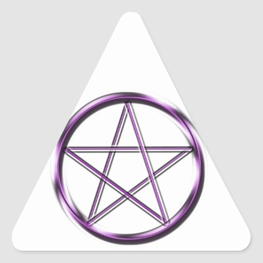 Pentagram púrpura en blanco pegatina triangular