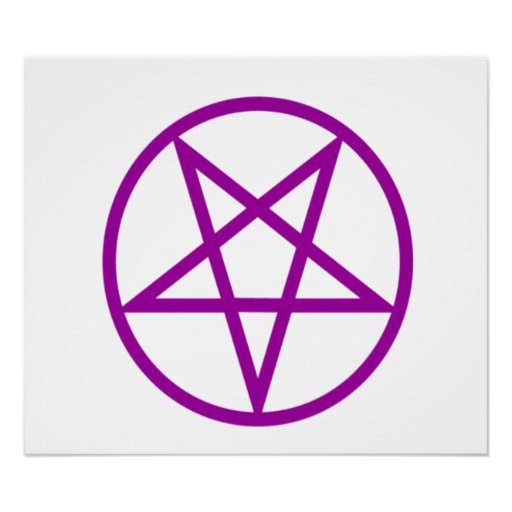 Pentagram púrpura invertido póster