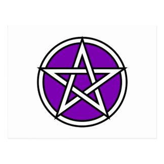 Pentagram púrpura mágico postal