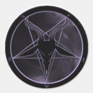 Pentagram púrpura pegatina redonda