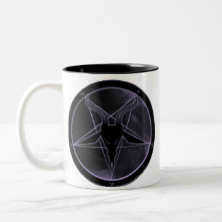 Pentagram púrpura taza de café de dos colores
