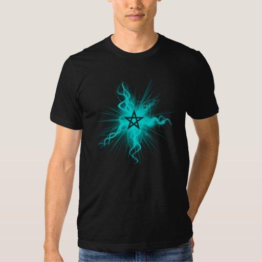 Pentagram que brilla intensamente de neón azul - polera