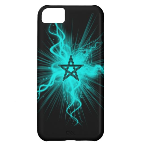 Pentagram que brilla intensamente de neón azul - s funda para iPhone 5C
