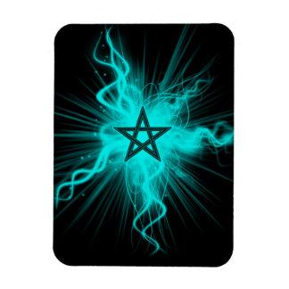 Pentagram que brilla intensamente de neón azul - s imanes rectangulares
