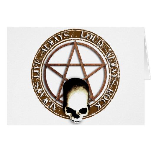 Pentagram Rock and roll skull Karte