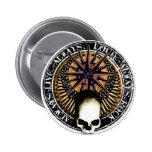 Pentagram Rock and roll skull Pin Redondo De 2 Pulgadas