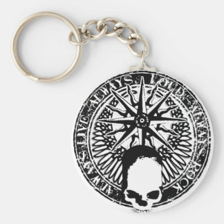 pentagram rock and roll skull wings basic round button keychain