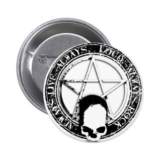 pentagram rock and roll skull wings button