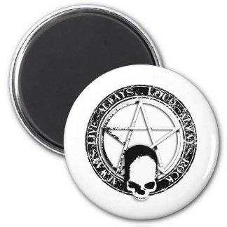 pentagram rock and roll skull wings magnet