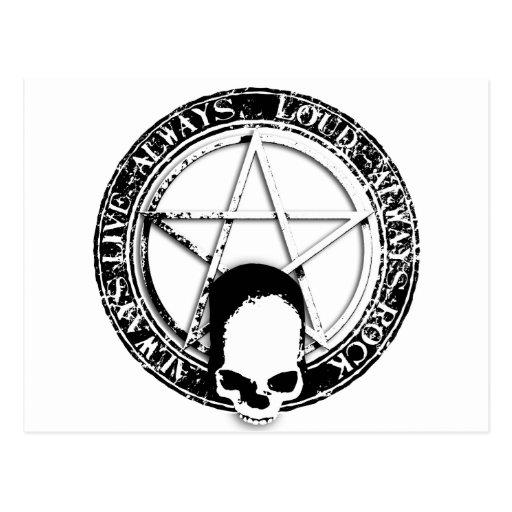 pentagram rock and roll skull wings post cards