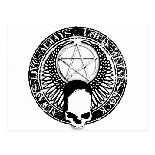 pentagram rock and roll skull wings postcards