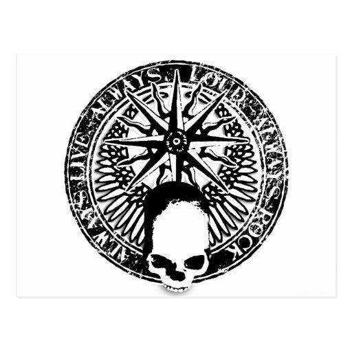 pentagram rock and roll skull wings postcard