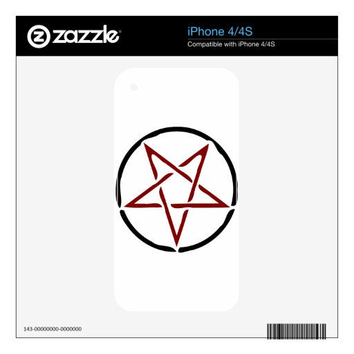 Pentagram rojo calcomanías para iPhone 4S
