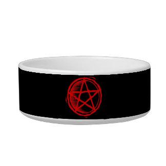 Pentagram rojo comedero para mascota