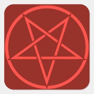 Pentagram rojo del pentáculo del estilo de neón pegatina cuadrada