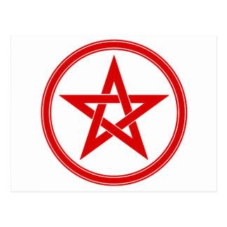 Pentagram rojo del pentáculo postales