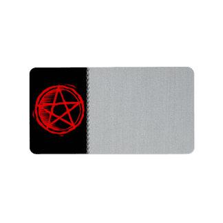 Pentagram rojo etiqueta de dirección