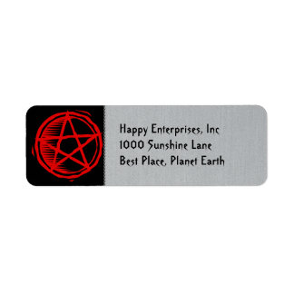 Pentagram rojo etiquetas de remite