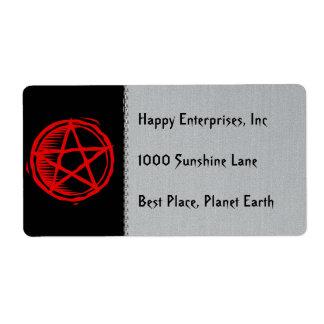 Pentagram rojo etiqueta de envío