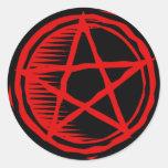 Pentagram rojo etiquetas redondas