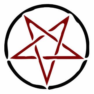Pentagram rojo fotoescultura vertical