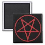 Pentagram rojo imán cuadrado
